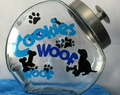 Dog or Cat Cookie jar, Treat Jar Personalized with pets name half gallon Glass Dog or Cat Treat Cookie Jar, Canister, Container
