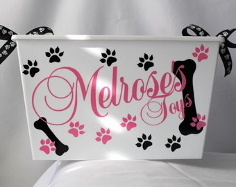 Personalized Dog toy box, Cat, Pet Storage, Bin, Toy box, Pet supply container.