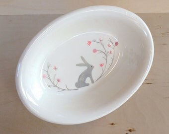 Ceramic Bowl - Bunny Bowl - Funtional Ceramics - Tableware - Kitchen Decor - Rabbit - Easter Bowl - Housewarming Gift - Oval Serving Dish