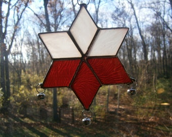 Stained glass sun catcher red and white star with bells