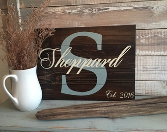 Personalized wall hangings on distressed reclaimed wood. Includes momogramed last initial, last name and est date.