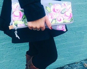 Dusty Rose Fold over clutch