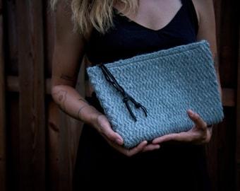 Light Blue Woven Clutch