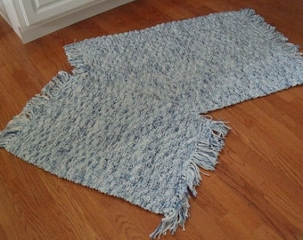 2 hand knit throw rugs