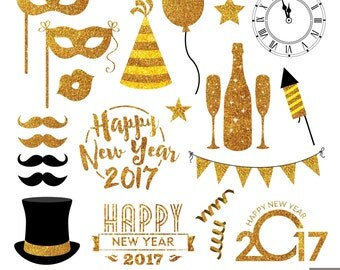 New Year Eve Digital Clipart, Glitter New Year