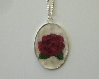Hand embroidered Red Rose cabochon necklace