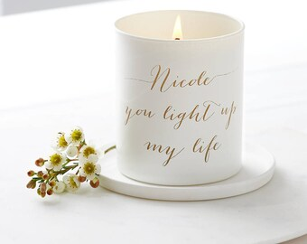 Glow Through Personalised Message Candle, Personalised candle, Scented Candle, Personalized candle, Engraved quote, Wedding candle, Gift.