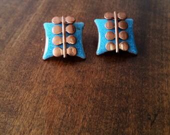 Matisse Art Deco Blue Enamel and Copper Clip Earrings Vintage 1950's
