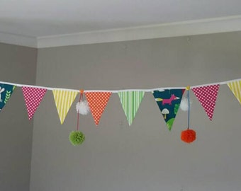 Pompom Bunting! Pompom Banner! Bunting made even cuter! By Beespoke Bunting.