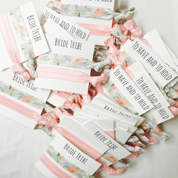 Bridesmaid hair tie favors//bridetribe blush & orange blossom//hair tie card//bridesmaid gift//elastic hair ties