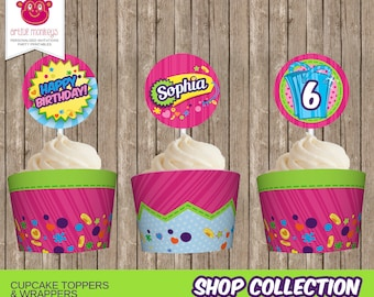 Personalised Shopkins Inspired Cupcake Toppers and Wrappers - You Print