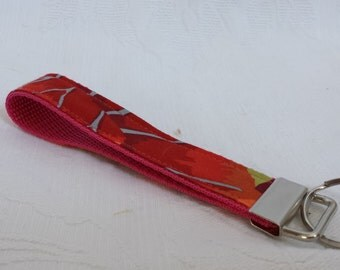 Pink and red floral key fob