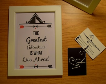 "Adventure Tent Print. ""The Greatest Adventure Is What Lies Ahead"" 7x5 Framed Print"