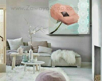 flowers wall decor canvas art . peach teal gray white interiors , available in poster canvas framed and in all sizes too