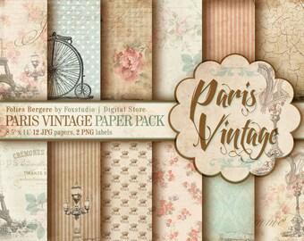 Paris Vintage Paper Pack. Shabby Chick Digital Papers. Paris Papers. Shabby Scrapbook Paris. Romantic Papers. Shabby Chic Background