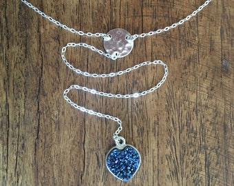 Once in a Blue Heart Necklace - Sterling Silver Lariat Y Necklace with Natural Druzy Stone and Silver Hammered Disc