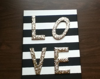 L O V E Striped Glitter Canvas