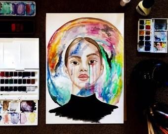 Rainbow tears-A3 original watercolour painting