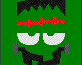 Frankenstein Face Halloween Embroidery Design