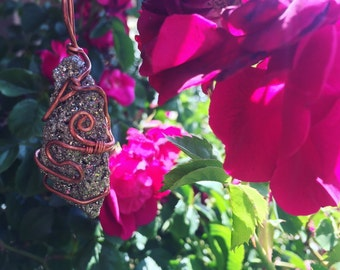 Copper Wrapped Pyrite Necklace