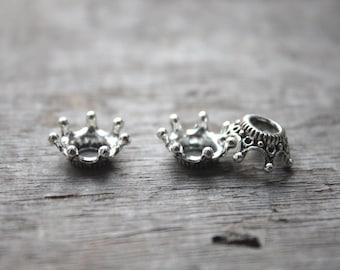 40pcs-Crown Charms, Antique Tibetan silver Tone 3D Crown charm pendants, Jewelry Making 6x13mm D0717