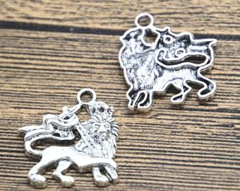 10pcs cross lion Charms silver tone lion charm pendant 27X24mm D2073