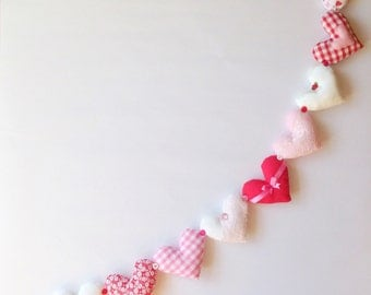 Red And White Shabby Chic Hanging Heart Garland Bunting, valentines decoration