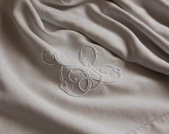 Pure Linen French Antique Embroidered Bedsheet -  EL monogram