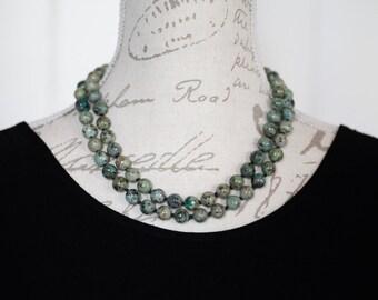 Turquoise long necklace / Long turquoise necklace / long Hand knotted turquoise necklace  / African turquoise beads