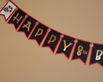 Movie Night Happy Birthday Banner, Movie Night Theme Banner, Movie Night Birthday Banner, Red and Gold