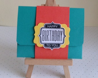 Handmade Gift Card Holder Thank You Teachers/ Happy Birthday.