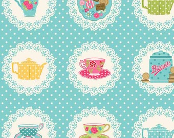 Doilies Teacup Teapot Biscuits on Doily Blue Polkadot Cotton Fabric from Tea Party Collection by Makower per Fat Quarter and per metre
