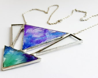 Stained glass pendant-4 pieces-balloon dough-resin-blue-green-purple-geometric-hipster