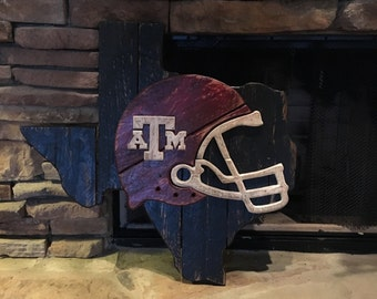 Wooden State of Texas with Texas A & M Helmet Logo