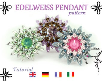 EDELWEISS Pendant pattern with Chilli beads DIY tutorial