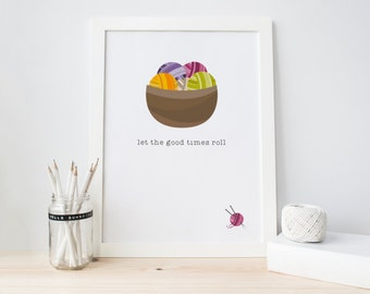 Knitting Print, Knitting Ball Print, Funny Print, Gift For Crafters