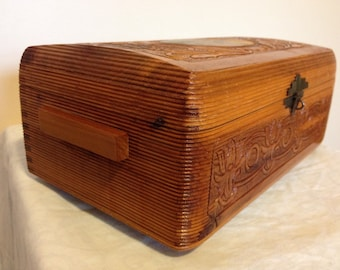 Vintage Carved Cedar Jewelry/Possibles Box