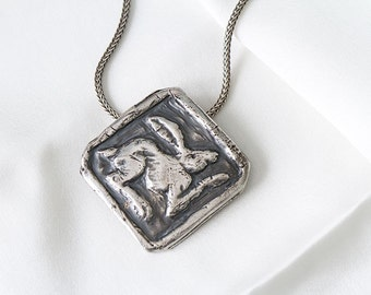White Rabbit, Bunny, Follow the White Rabbit, Cast Solid Sterling Silver Pendant