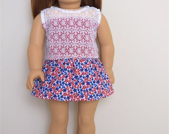 American Girl Doll Clothes  Red White and Blue Skirt