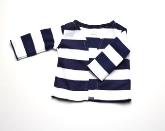 Blue/White stripes cardigan American Handmade Girl Doll Clothes