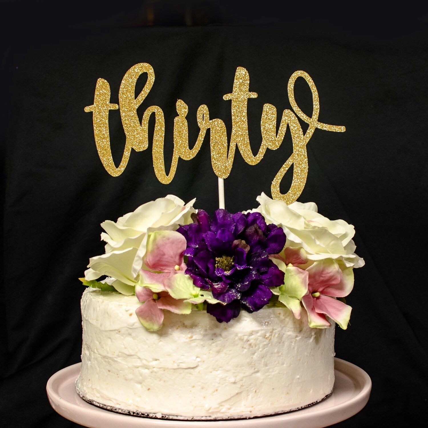 Thirty Gold Glitter Cake Topper Thirty Cake Topper 30th