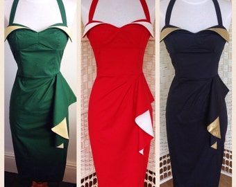 Wing Bust Dress - Custom colour combination - Ultimate Pinup Bombshell Dress