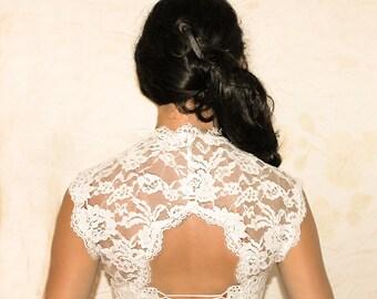 White bridal cover up lace wedding bolero bridal lace top wedding shrug lace shrug bridal bolero shrug for bridel evening bolero shrug