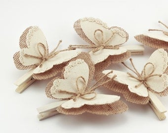 Set of 5 Butterfly Wings Clothes Pins, Rustic Wedding, Burlap Decor, Country Wedding, Burlap Ornaments, Rustic Home Decor