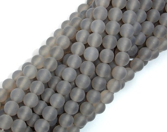 Matte Gray Agate Beads, 6mm Round Beads, 15.5 Inch, Full strand, Approx 64 beads, Hole 1mm, A quality (241054004)