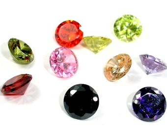 Cubic Zirconia Beads, CZ Beads, 8mm Round Diamond Brilliant Cut, Pointed Back, 10 pieces, Hole 0.8 mm, A quality (RS0808)