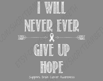 Brain Cancer awareness tank top chalk board never ever give up hope brain tumor shirt grey matters survivor warrior t shirt grey ribbon