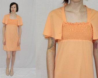 Vintage 70s Mod Peach Flutter Slv EMPIRE Smocked Hippie Boho Retro MINI Dress S