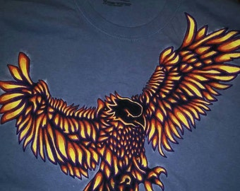 Men's  2X large, light blue tshirt with hand painted  eagle