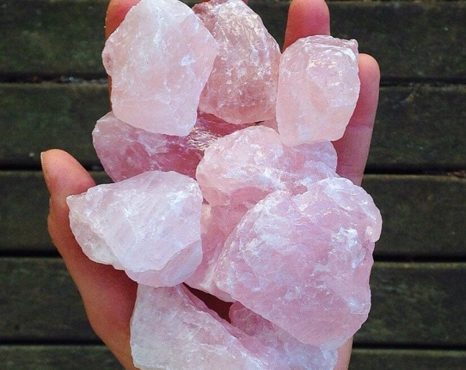 2 Raw Rose Quartz Chunks infused with Love and Reiki